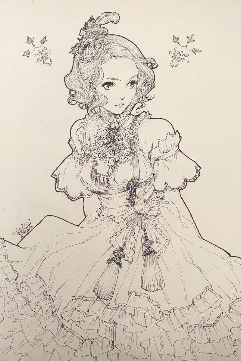黑白少女线稿,服饰洋气可爱,精致的洛丽塔风格图片