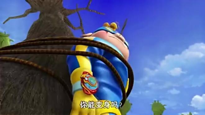 猪猪侠:猪猪侠他们被困了,猪猪侠想用苹果帮社长变身,哈哈