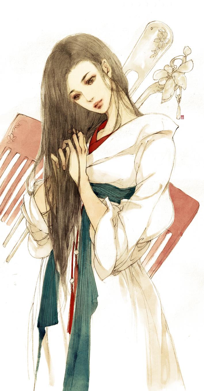 二次元古风手绘少女壁纸,悲伤浮现指流年,伊人流尽千