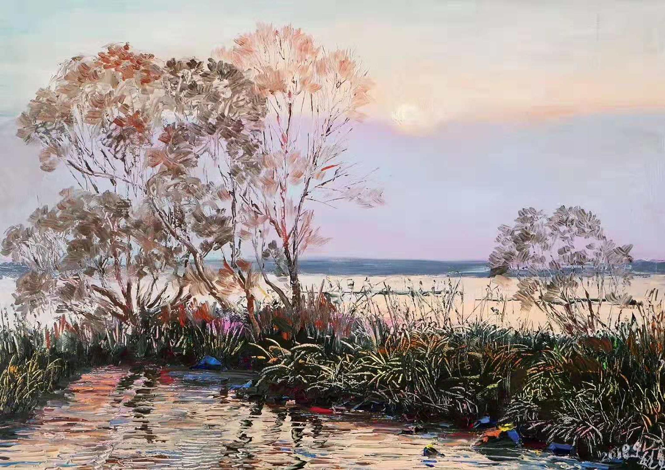 油画:一组描绘桥,鸭子,朝霞和激流的风景画