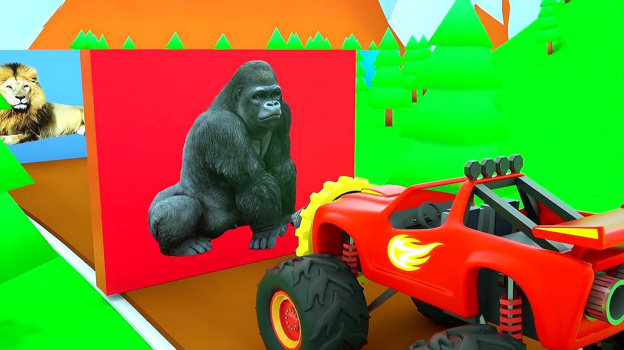 赛车飙速装上了钻头,钻碎了不同种类的动物积木墙,少儿认识动物