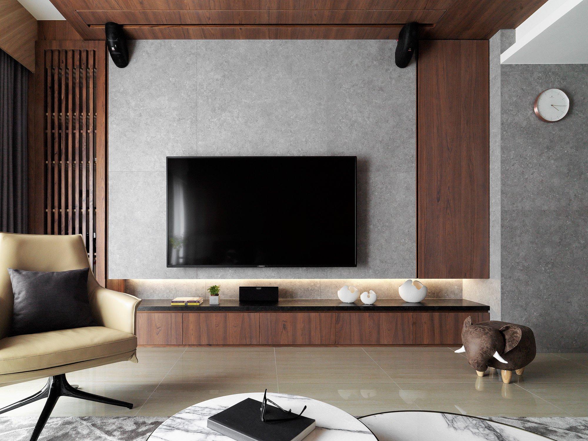 现代简约装修效果图,30万打造140㎡三居室,电视背景墙