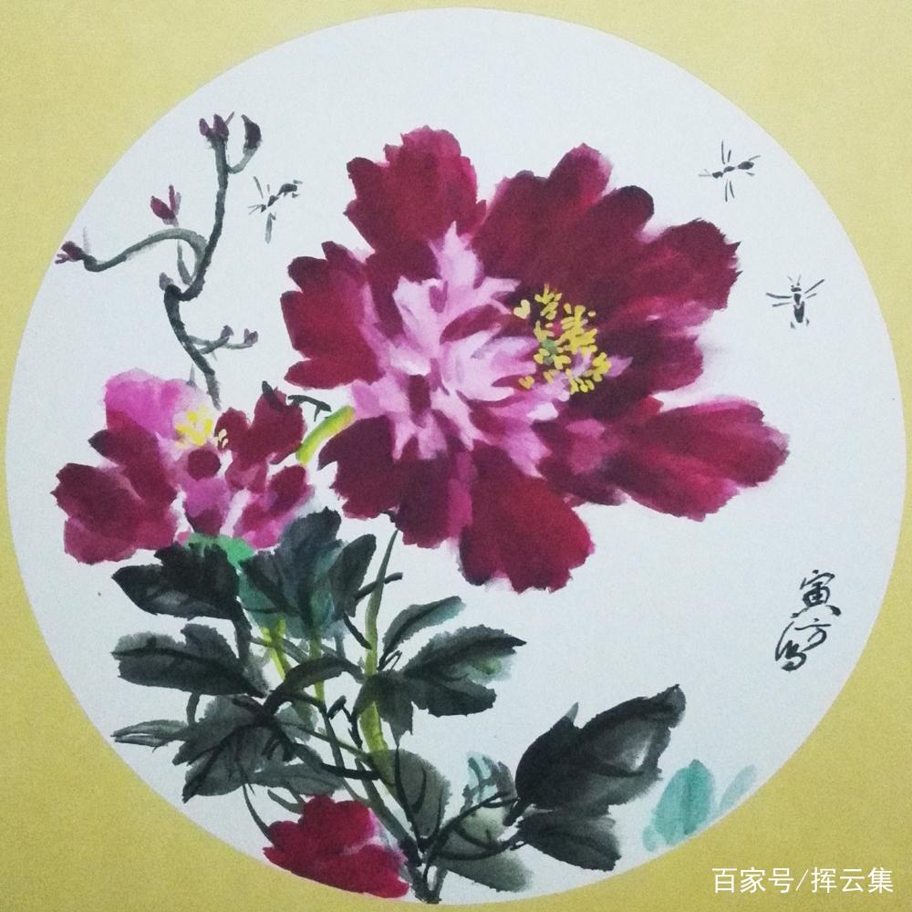 圆形装饰画国画写意牡丹图集,新中式客厅装修布局可以