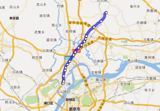 南京地铁s8号线线路图,以及s8号线时间表和相关站点名