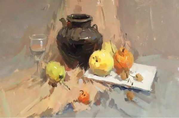 水粉画素材集:深色罐子,水果,高脚杯,方形白瓷盘的组合.