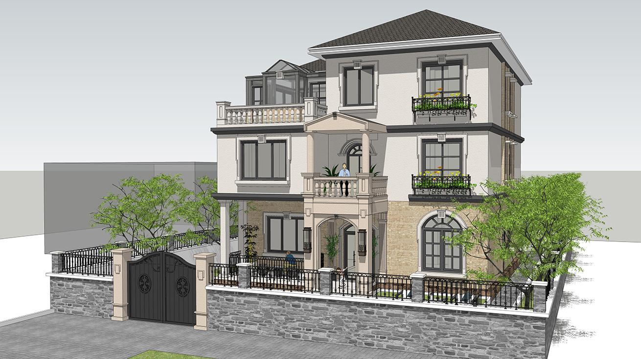 别墅设计:三层欧式别墅,造型简约拒绝花里胡哨,在农村