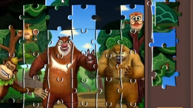 熊出没之探险日记 熊出没智力拼图第十关 益智闯关游戏