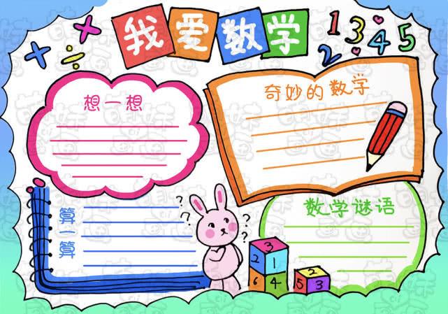 简单好看的语文,数学,英语主题手抄报模板,可自由替换图片
