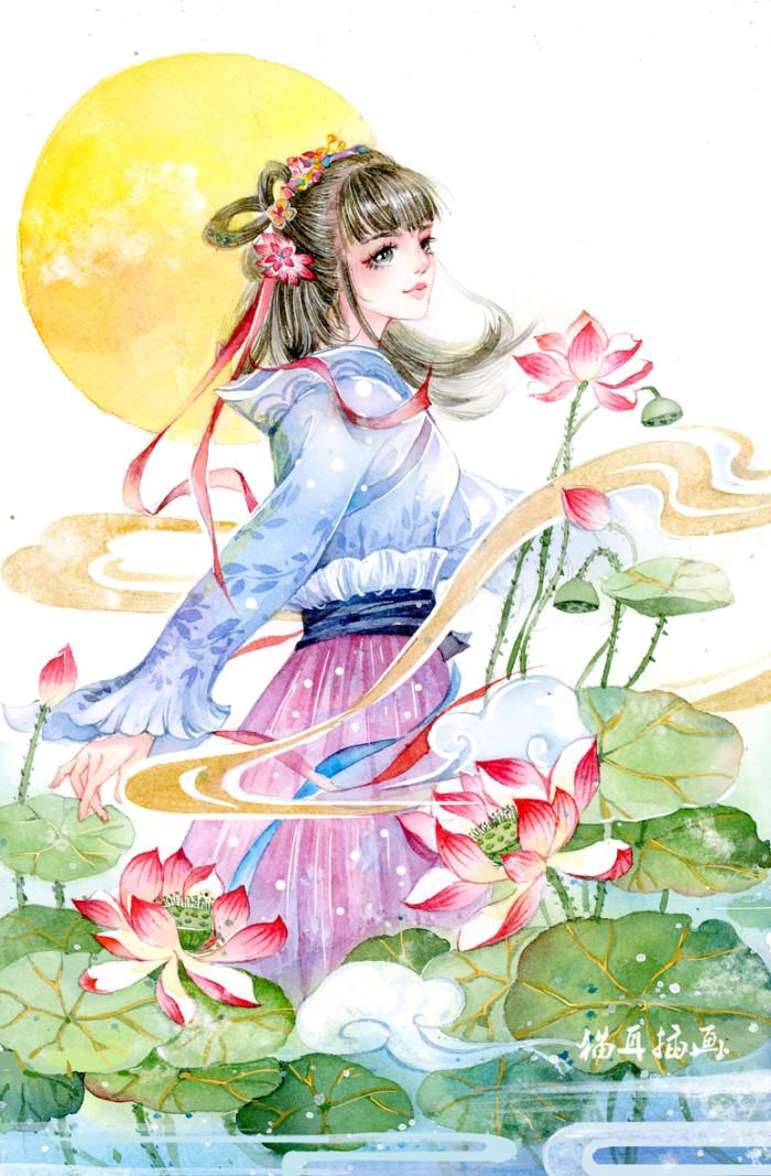 古风手绘温柔美仙女壁纸:听闻情话,十句九假!