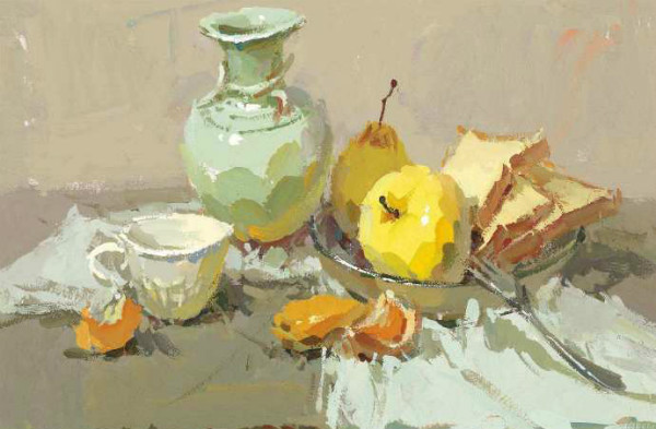 水粉画素材集:浅色罐子,水果,面包,白瓷杯,不锈钢叉子的组合.