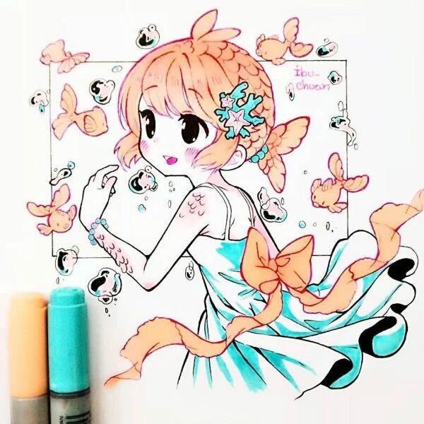 马克笔手绘,清新甜美的卡通女孩