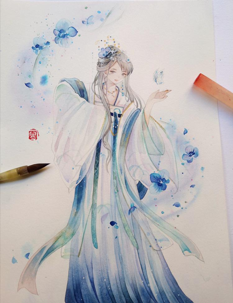水彩手绘,气质优雅的古风女子插画,涂色超清新.戏蝶的古风女子.
