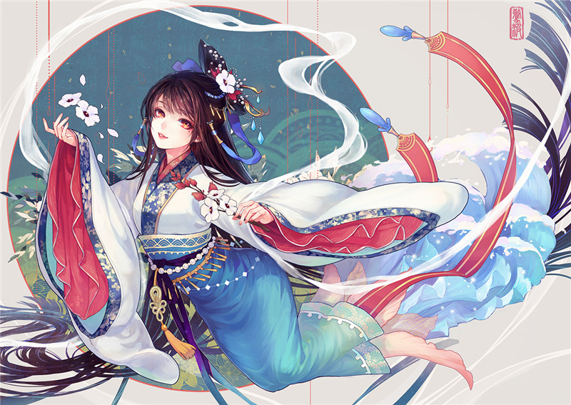 古风手绘二次元小仙女壁纸:十七岁那年你弯腰,时光不