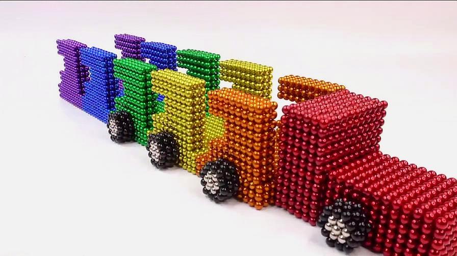 创意手工 如何用7000颗磁球DIY运输野生动物的卡车?