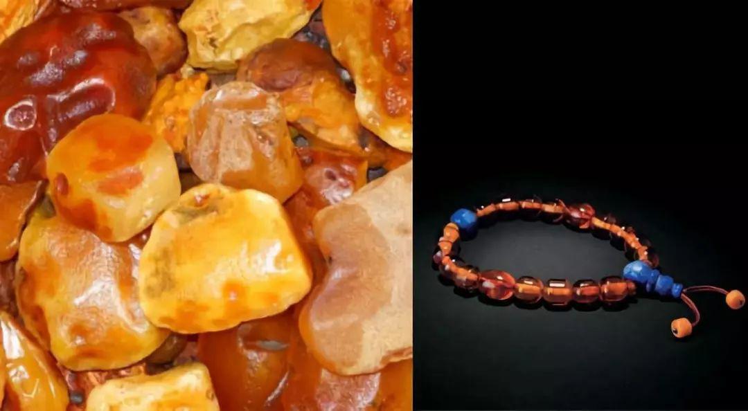 琥珀蜜蜡原石与手链