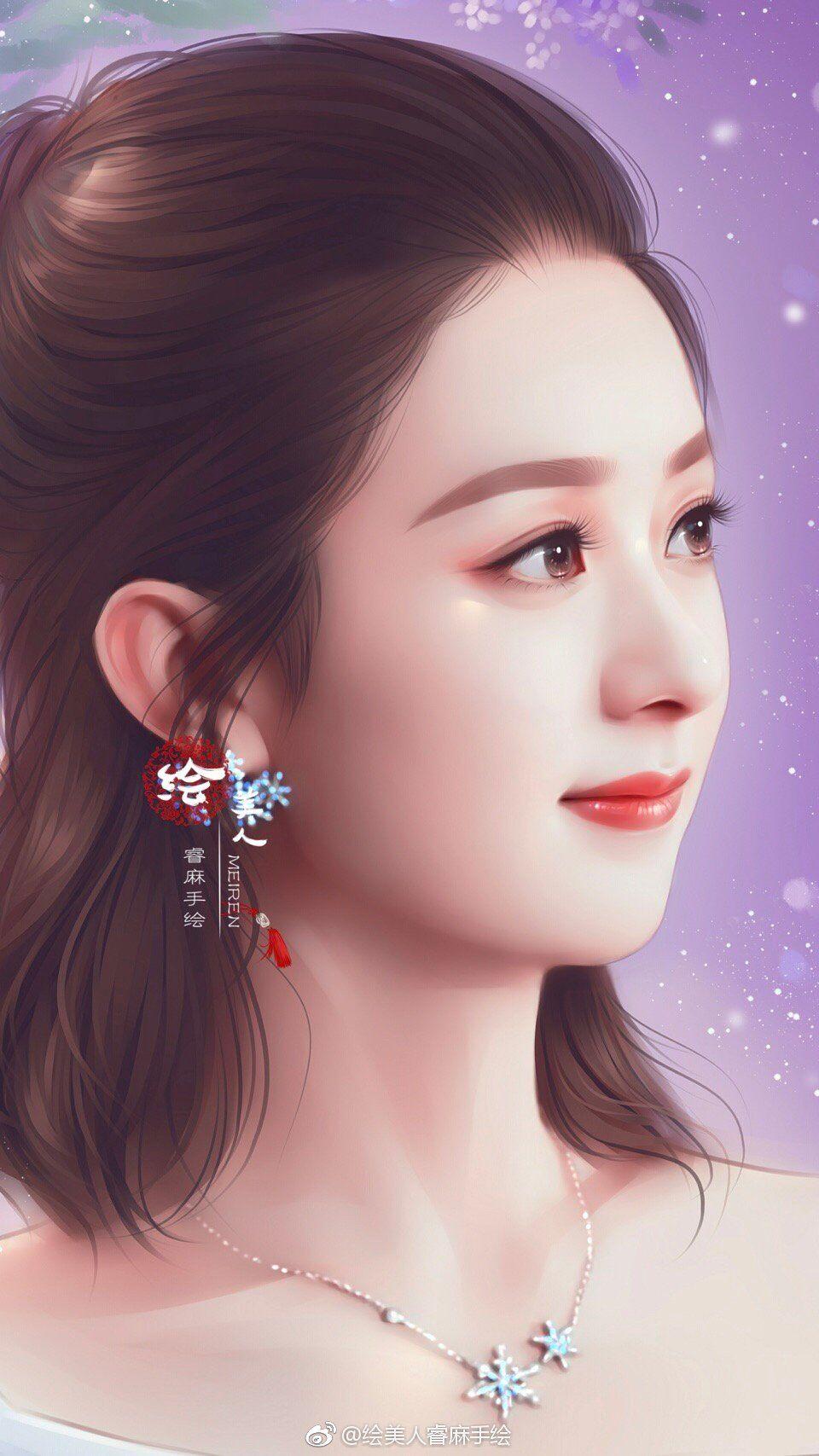 赵丽颖手绘壁纸:你们是什么时候开始认识她的,最喜欢