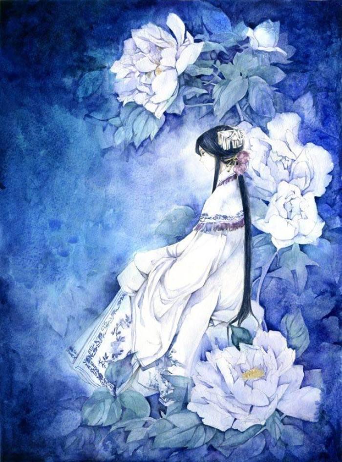 唯美古风手绘插画壁纸,所谓繁花不过一梦,我曾用爱