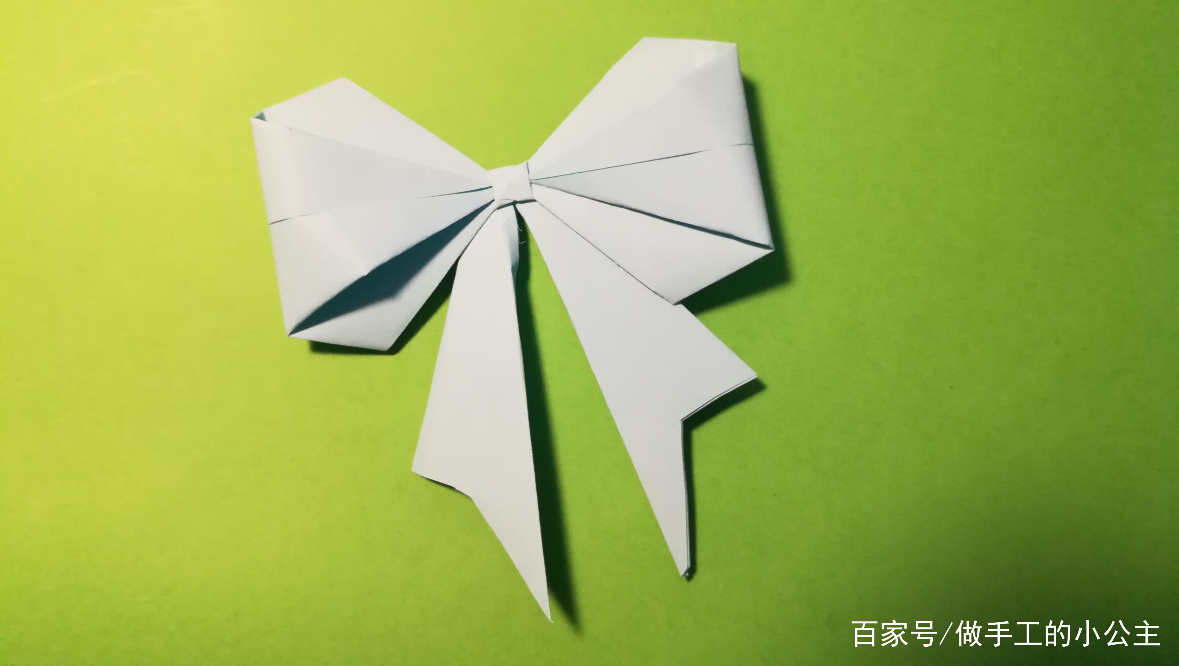 手工:教你用折纸折出美丽的蝴蝶结,女孩子们都喜欢!