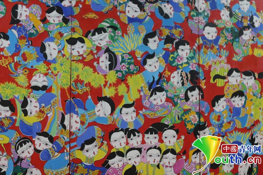 梁平区实验小学学生创作的新年画《柚香百娃图》 中国青年网记者 郭凯