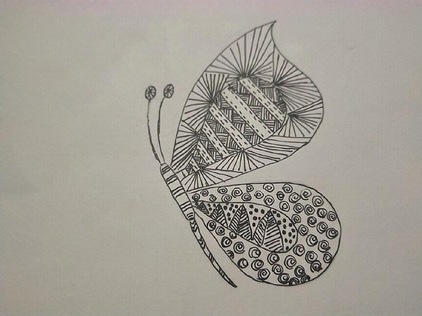蝴蝶漂亮的花纹就画好了,少了色彩,多了变化,黑白的蝴蝶一样美丽吧!图片