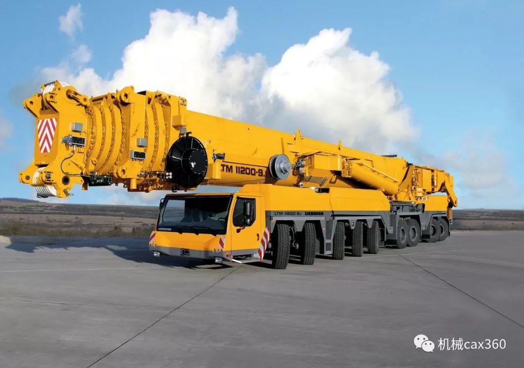 利勃海尔t282b_利勃海尔的九轴移动式起重机ltm 11200-9.1,拥有100米的伸缩臂.