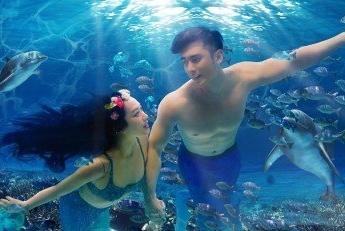 钟丽缇时隔25年再演美人鱼,与张伦硕水下拍大片,美得似童话世界