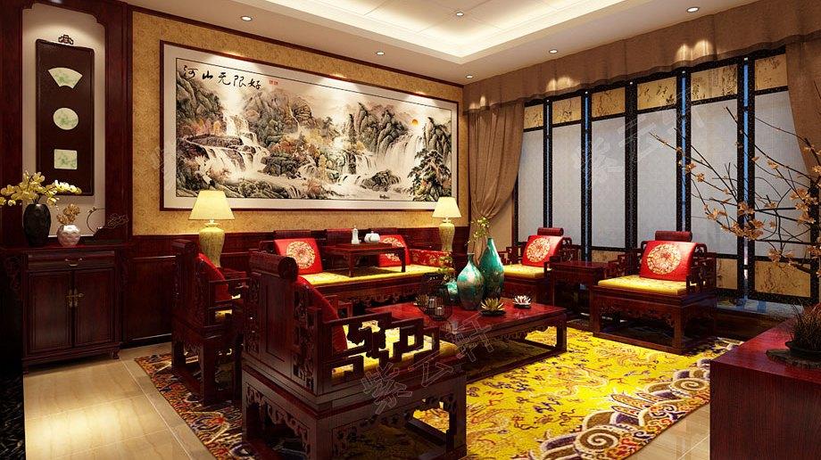 四室两厅的大平层中式装修,书房和茶室样样俱全