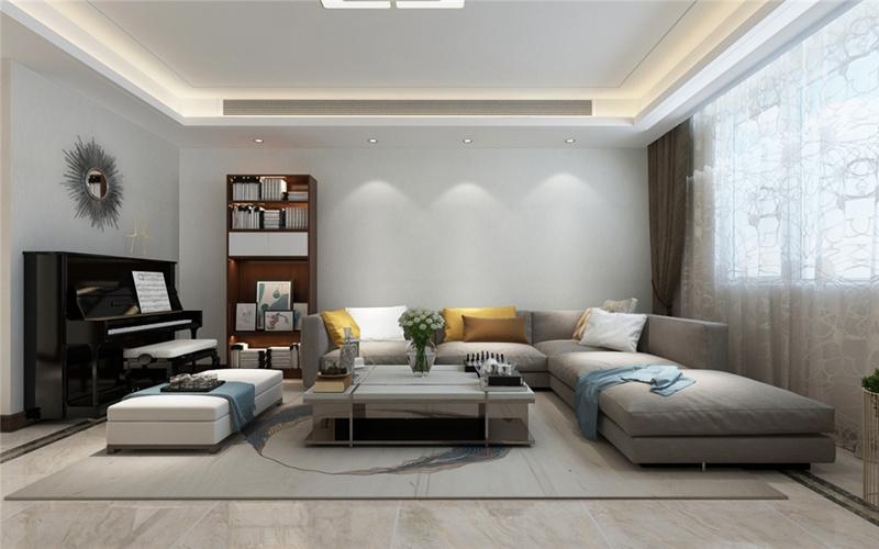 200平米现代简约风格——客厅沙发背景墙