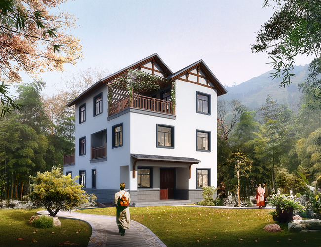 中式别墅设计:带泳池的四层中式民宿拥有11间卧室,还
