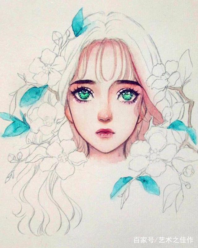 水彩人物插画,甜美可爱的美少女,颜色搭配的好棒