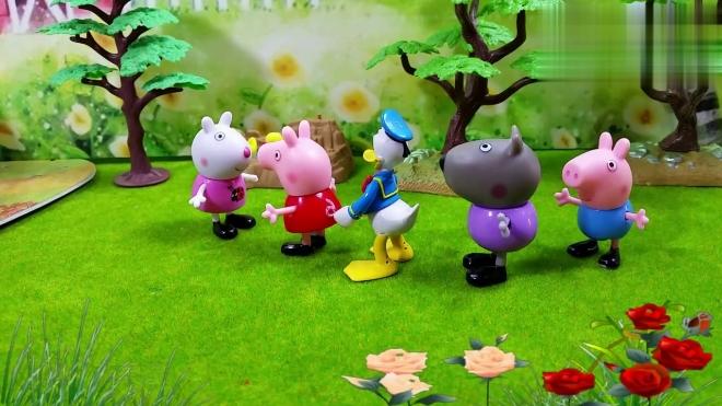 小猪佩奇故事:佩奇乔治玩老鹰捉小鸡的游戏,乔治不小心摔倒了