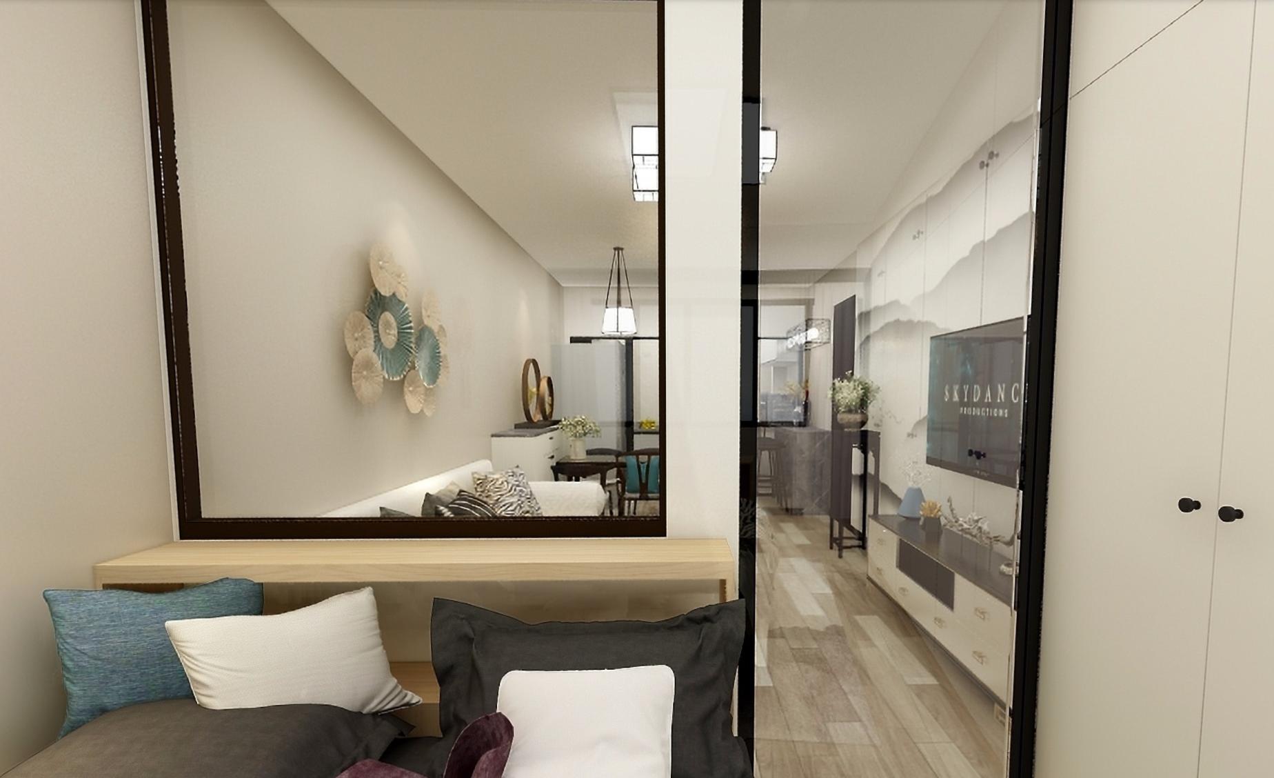 卧室效果图.为了增加客厅的光线,卧室与客厅的隔断大量使用透明玻璃.图片