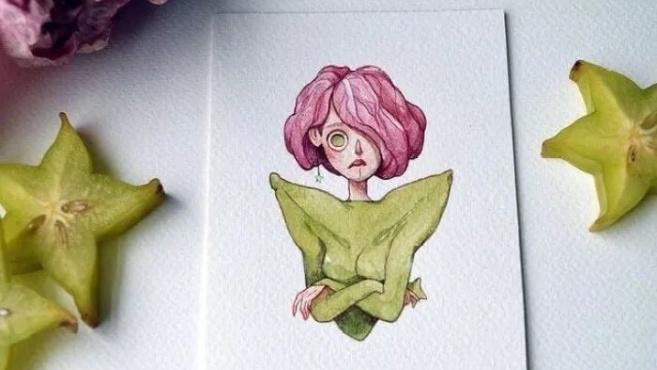把各种水果蔬菜画成了人,太可爱了啊