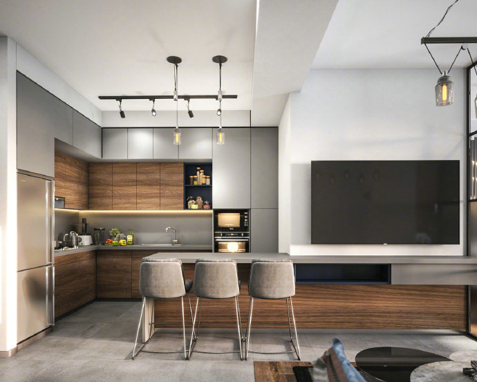 欧式简约公寓设计:开放式书房,艺术感卧室,你还想要