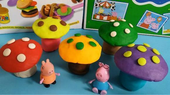 佩佩猪化身采蘑菇的小姑娘 粉红猪小妹的恐龙彩泥玩具