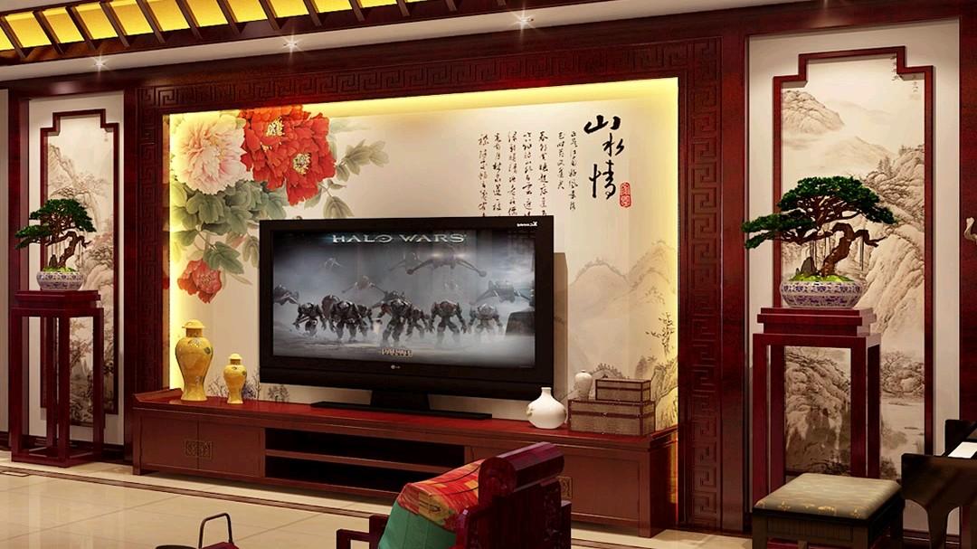 简约中式装修的客厅,缩小版的故宫!