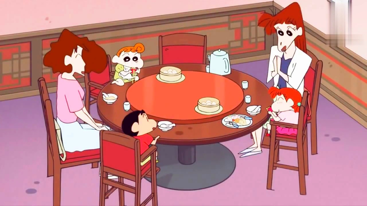 蜡笔小新 可怜妮妮妈妈系列,樱田太太又被小新逮住共餐