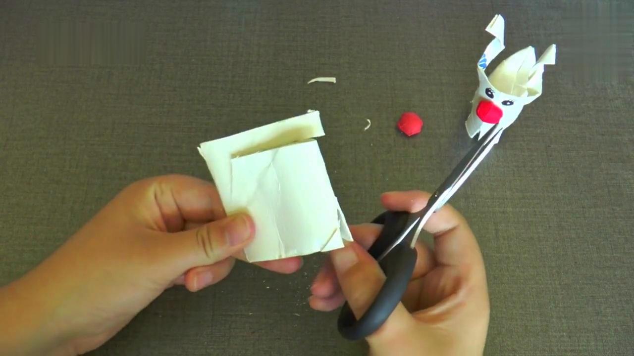 废物利用 儿童手工diy 卷纸筒圣诞麋鹿