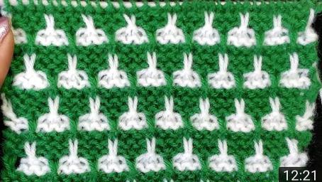 棒針編織,雙色小兔子圖案編織,適合給萌寶編織毛衣