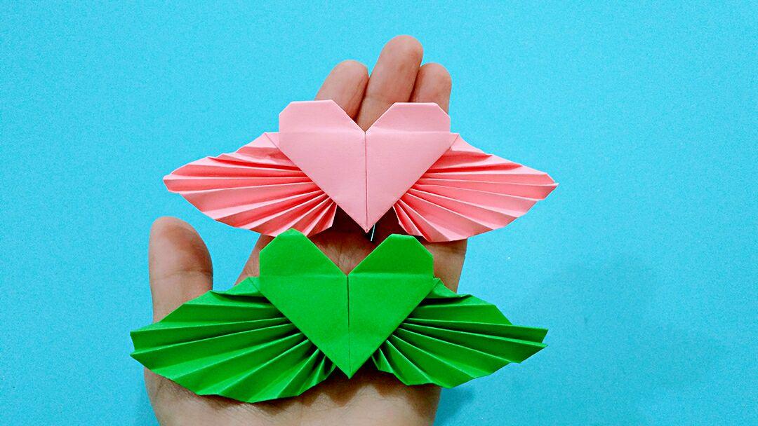 2分鐘看懂這個漂亮的天使心手工摺紙,簡單易學一看就會