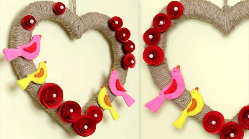 家庭手工裝飾畫:用毛線製作的立體手工花環,既簡單又實用