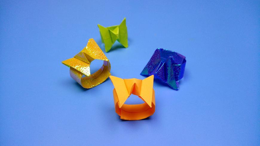 超漂亮的蝴蝶戒指摺紙,一張紙簡單幾步就折好了,女生搶着學