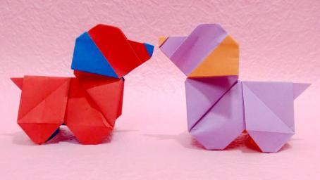 兒童手工摺紙:用一張紙折出來的小狗狗 周末陪孩子一起做手工