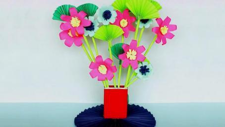 創意摺紙教學,教你製作漂亮的裝飾紙花,摺紙DIY