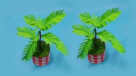 轻松几步教你自制含羞草盆栽,简单漂亮又清新,手工折纸大全视频