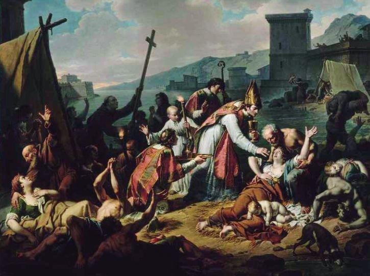 1720 年马塞鼠疫盛行期间,牧师在安慰死去的病人。这幅画由法国历史画家尼古拉斯-安德烈·蒙西奥(Nicolas-André Monsiau)绘制