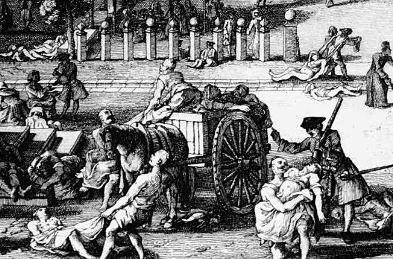 鼠疫流行的情形。这幅由法国画家杰克斯·里戈(Jacques Rigaud)所绘的画,描述了 1720 年鼠疫袭击马赛,并在两年内杀死 40 000 人(占城市总人口的一半)的情形