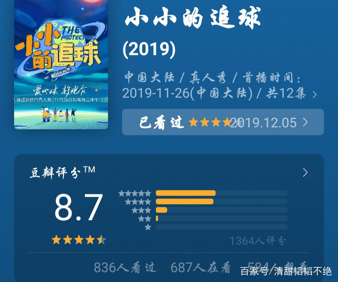 黄子韬综艺《小小的追球》豆瓣评分8.7分,芒果TV四天播放量1.8亿
