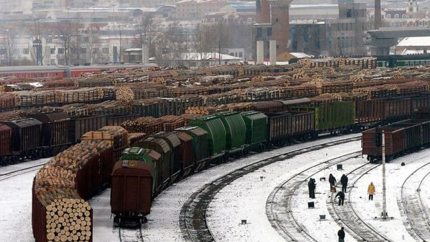 This picture from 2005 showed the extent of Russian timber exports passing through Suifenhe railway station