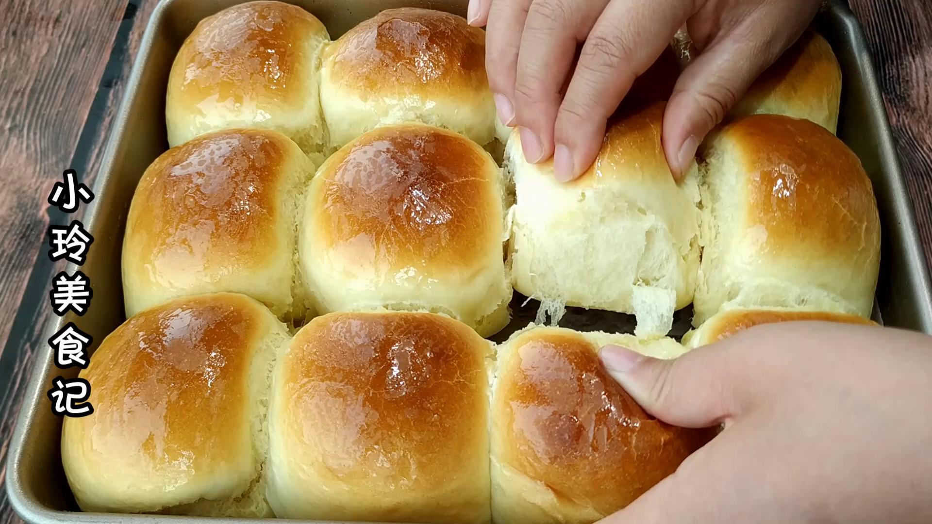 老式蜂蜜小面包最简单做法,暄软香甜,小时候的味道,好吃又解馋